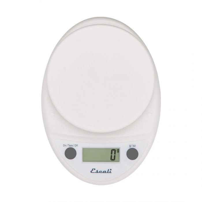 Overhead view of a white Escali Primo digital scale.
