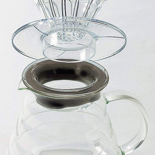 Hario V60 Glass Range Server with a coffee dripper on top.