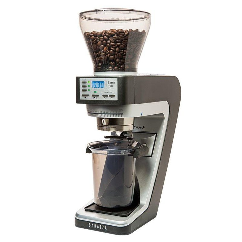 Black and silver Baratza Sette 270 Coffee Grinder with a cup under the grinder and beans in a clear funnel on top.