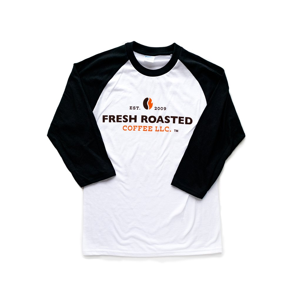 Baseball t shirt, white with black sleeves, Fresh Roasted Coffee LLC logo printed on the front.