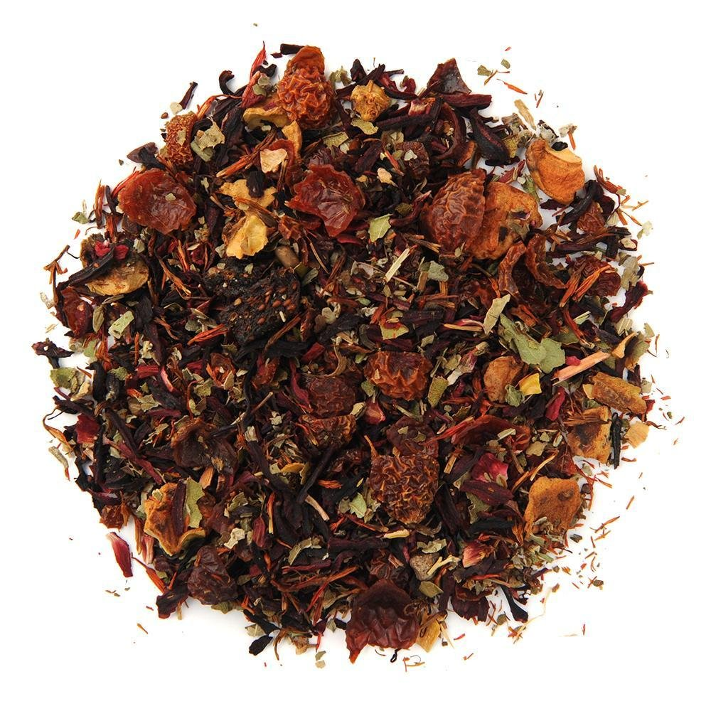 A pile of Organic Very Berry Citrus Herbal Tea.