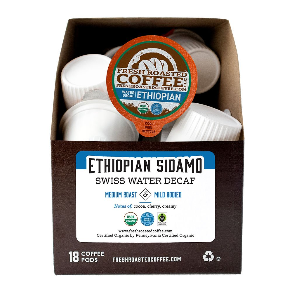 Box of Organic Swiss Water Decaf Ethiopian Sidamo single serve coffee pods.