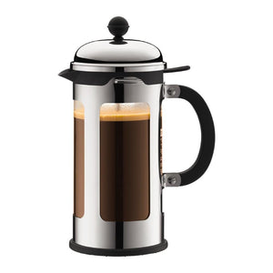 Bodum Chambord 8 Cup French Press coffee maker filled with coffee.