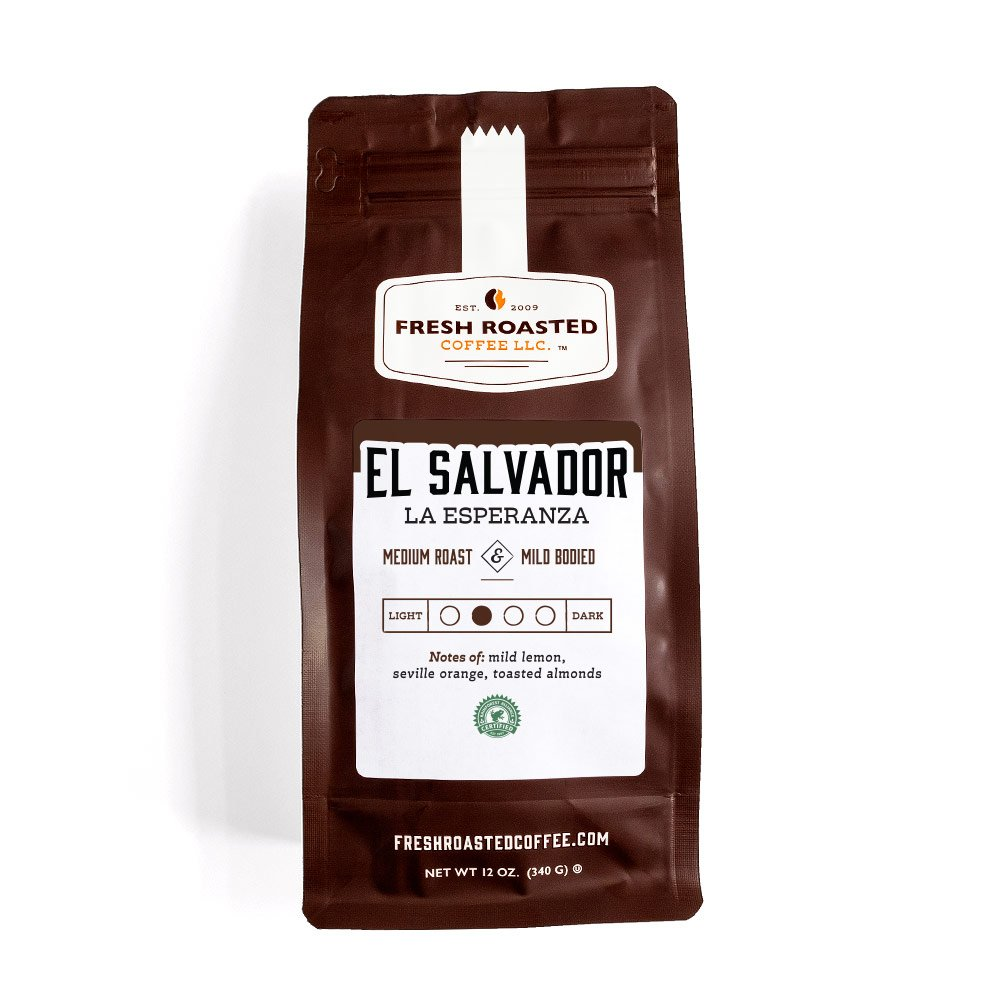 Brown bag of El Salvador La Esperanza coffee.