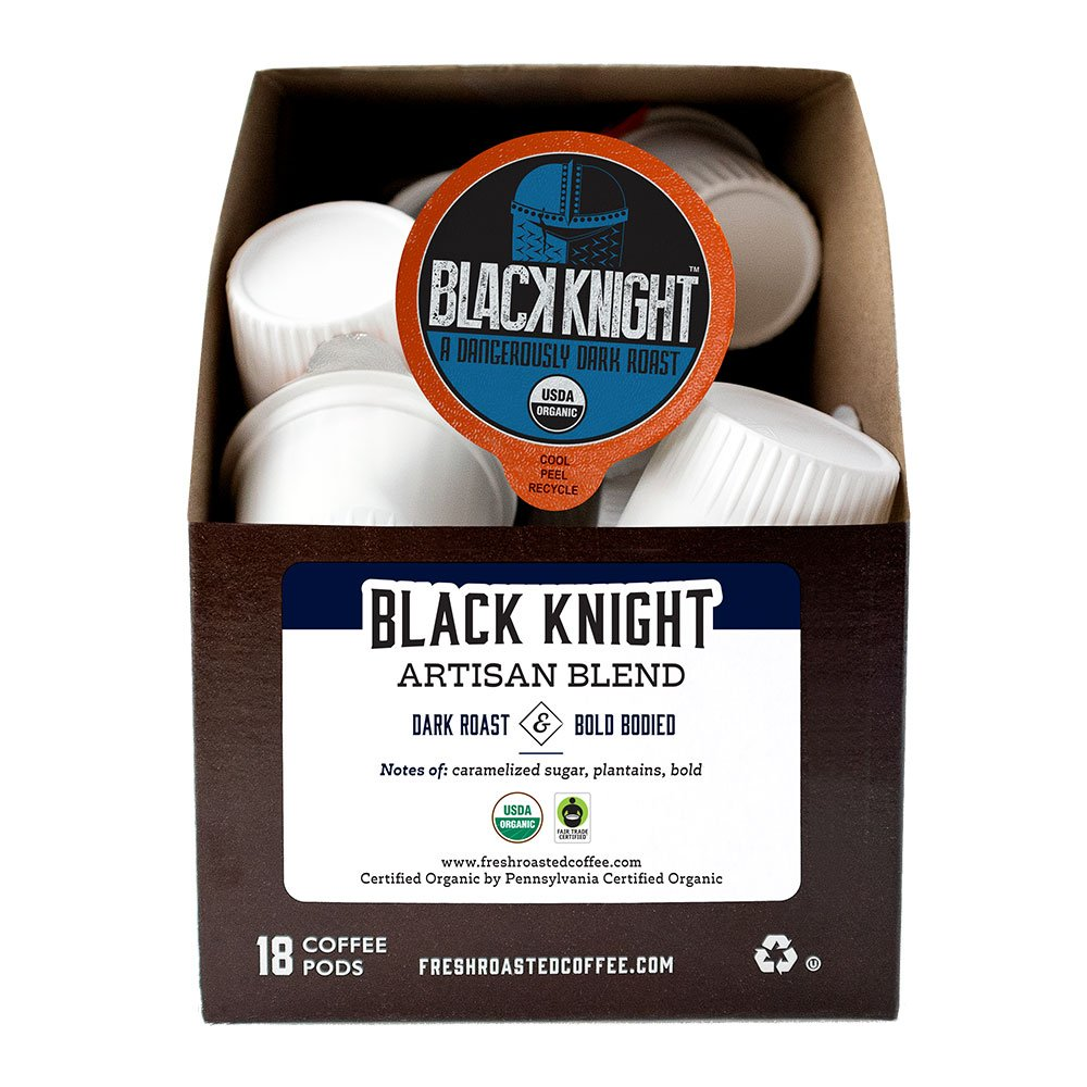 A box of Organic Black Knight blend single serve coffee pods.