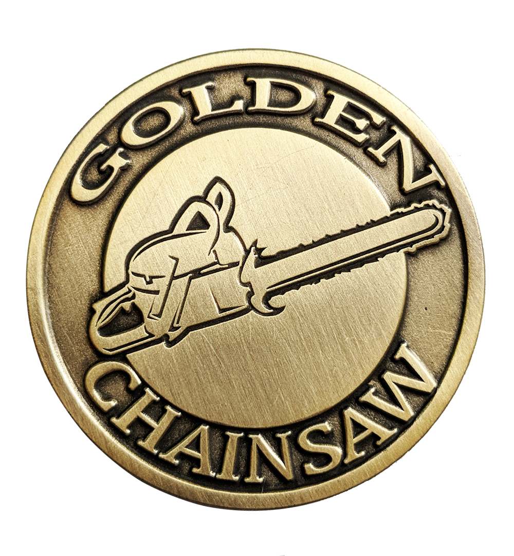 Golden Chainsaw Pin