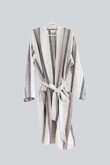 Hudson Turkish Bathrobe (Brown/Cream)