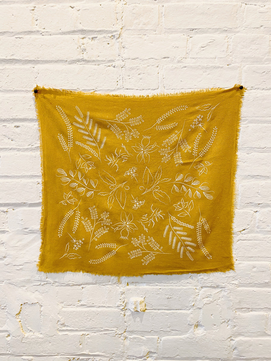 Desert Gold Botanical Print Naturally Dyed Bandana (white)