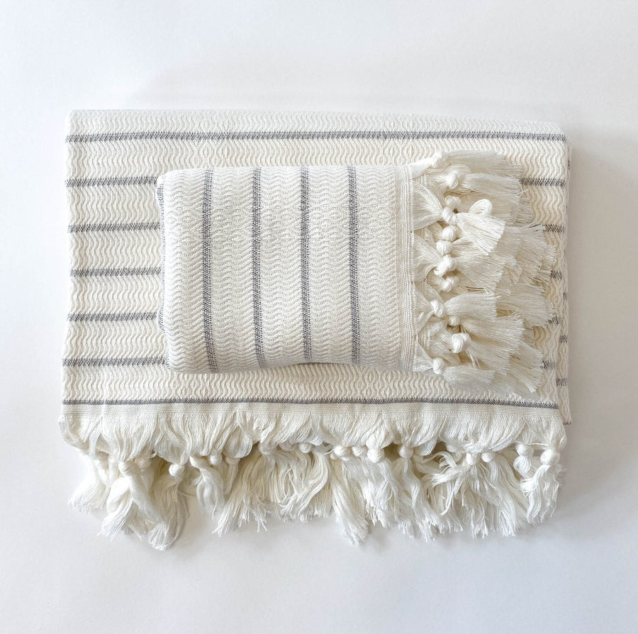 Deniz - Ivory/Grey Soft Weave Turkish Towel