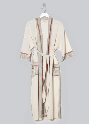 Tribeca Turkish Bathrobe (Ivory/Cherry)
