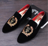 Men's Velvet Loafers. European Style Embroidered Velvet Slippers