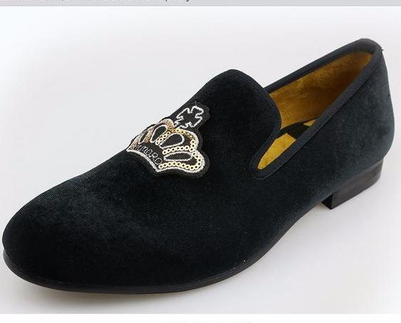 db444c2fb24a7 Men's Black or Gray Velvet Loafers. Hand made European style Embroidered  Slippers. 6.5 TO