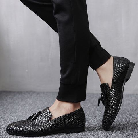 Extra sharp men's woven tassel loafers. Black, Blue and Gray.
