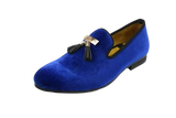 Black or BLU Velvet Men's Tassel Loafers Smoking Slippers