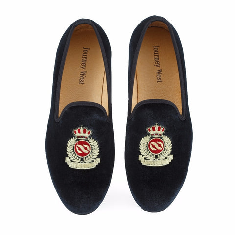 Men Velvet Loafers Black Wedding Prom Dress Shoes Smoking Slippers with Crown Handmade Size 7-13