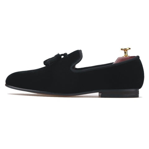 Handmade Mens Shoes Casual Black Velvet Tassel Loafers Size US 7-13