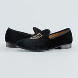 Handmade Men's Velvet Loafers Smoking Slippers With Crest British Flats Size US 7-13