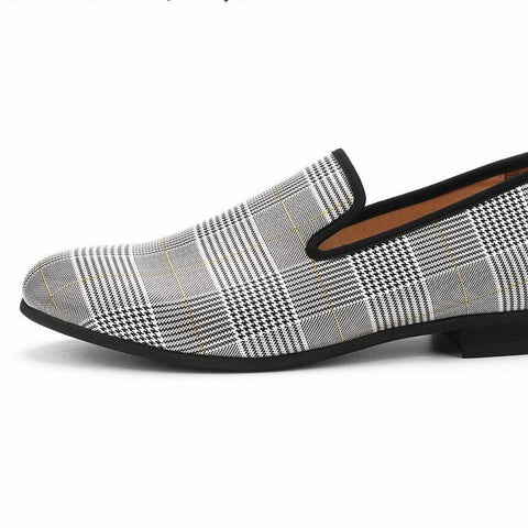 Luxury men's chequered plaid patent leather loafers