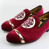 Black, Blue, Gray, Red. Gold Top and Metal Toe men's velvet dress shoes Handmade loafers