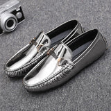 Silver, Blue, Black Men's Shoes, Loafers, Glitter Driving Mocs, Patent Leather