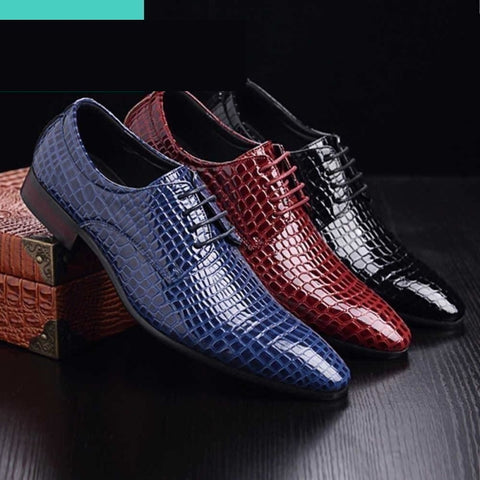 Crocodile Pattern Leather Men's Oxford Formal Dress Shoes BLK, BLU, RED