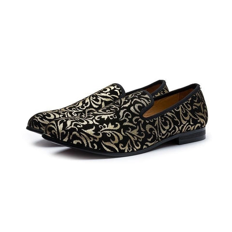 Luxury Men's Shoes Black and Gold loafers