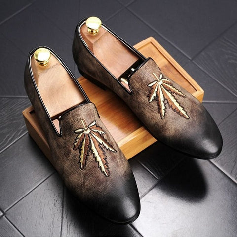 Men's Leafs Embroidery Loafers Slip-On Shoes