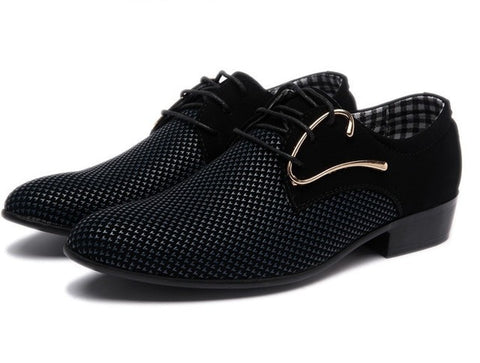 Men's Leather Lace-up Dress Shoes Pointed Toe