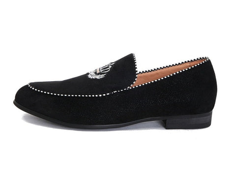 Embroidery Crown highlighted moc toe Loafers
