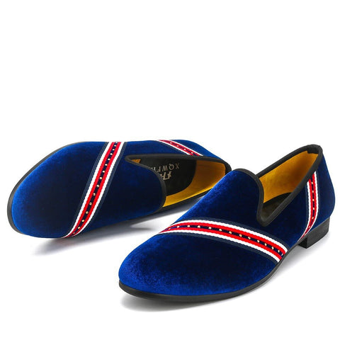 Men Party Wedding Shoes Velvet Loafers Smoking Slipper. BLU or BLK
