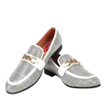 Men's Plaid Casual Shoes Handmade Loafers