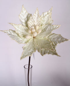 "D262348 IVO - 26"" Velvet Beaded Poinsettia Stem - Ivory"