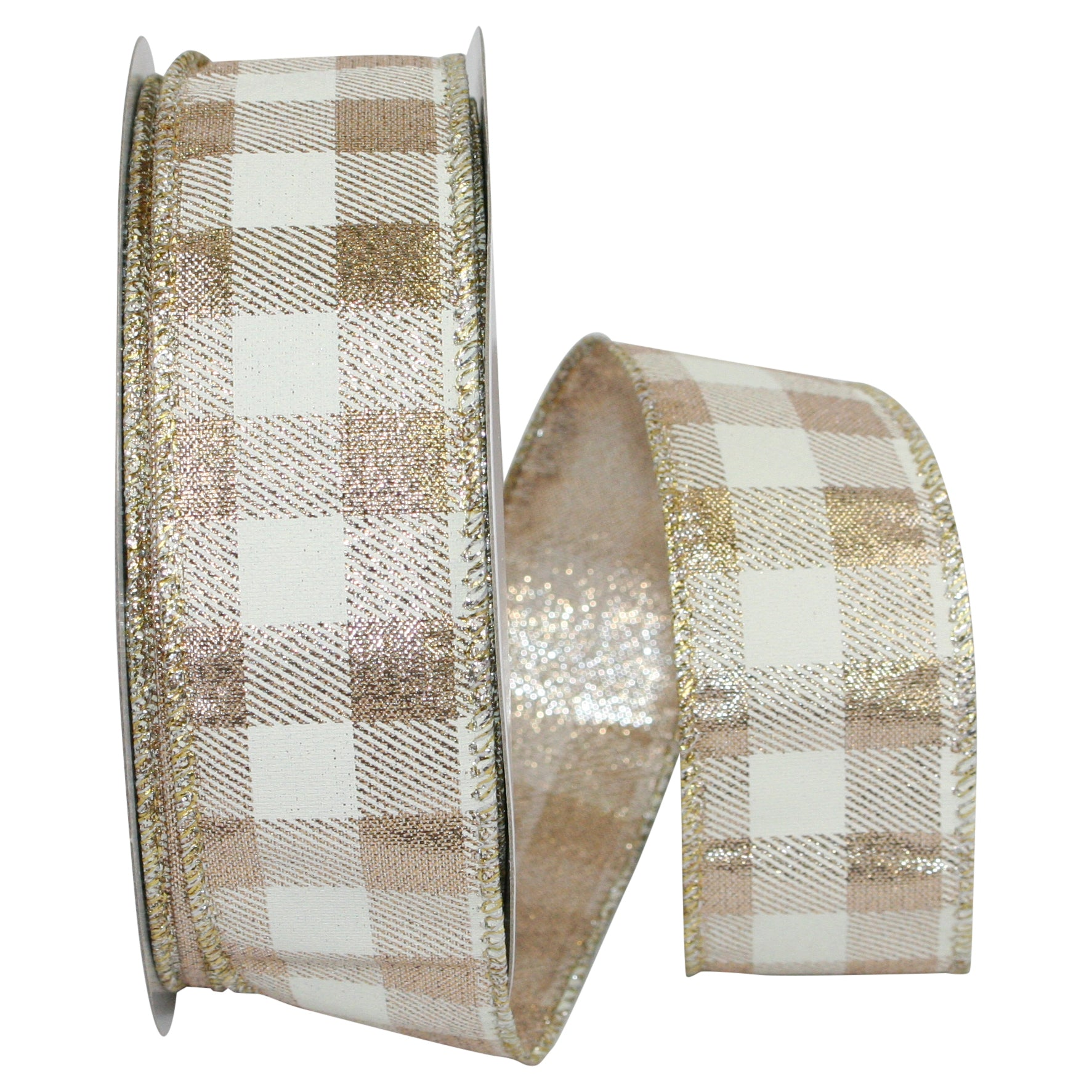 "C93161W IV/GLD GINGHAM METALLIC 1.5"" 25YDS"