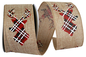 C93303W NAT DEER ANTLER PLAID LINEN