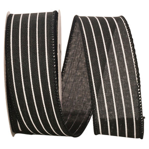 "C93405W BLK THIN STRIPE LINEN 1.5"" 20YDS"