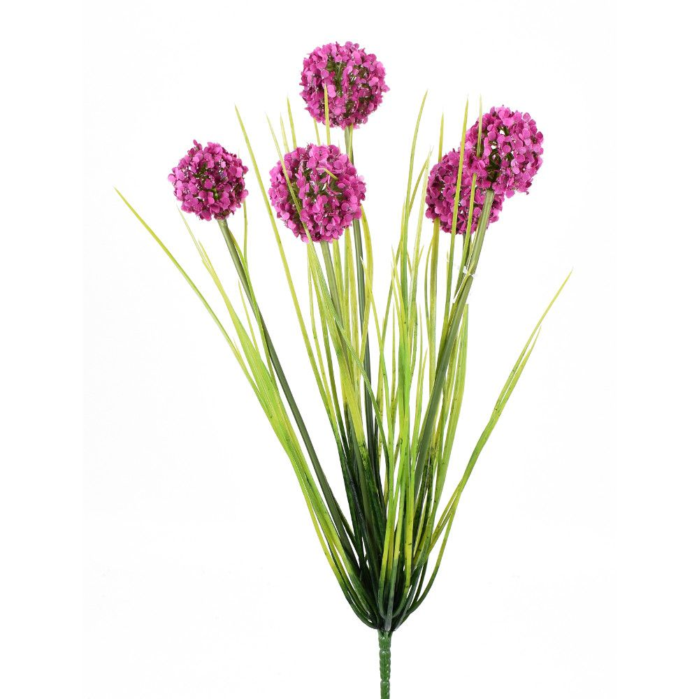 "D278015 PURPLE/GREEN 18"" ALLIUM GRASS BUSH"