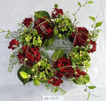 VHYX60291 RED VELVET HYDRANGEA WREATH