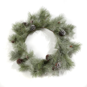 "M411067 24"" FROSTED MIXED PINE WREATH"
