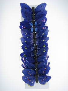 "PRBF3746 BLUE 3"" FEATHER BUTTERFLIES 1 DOZEN"