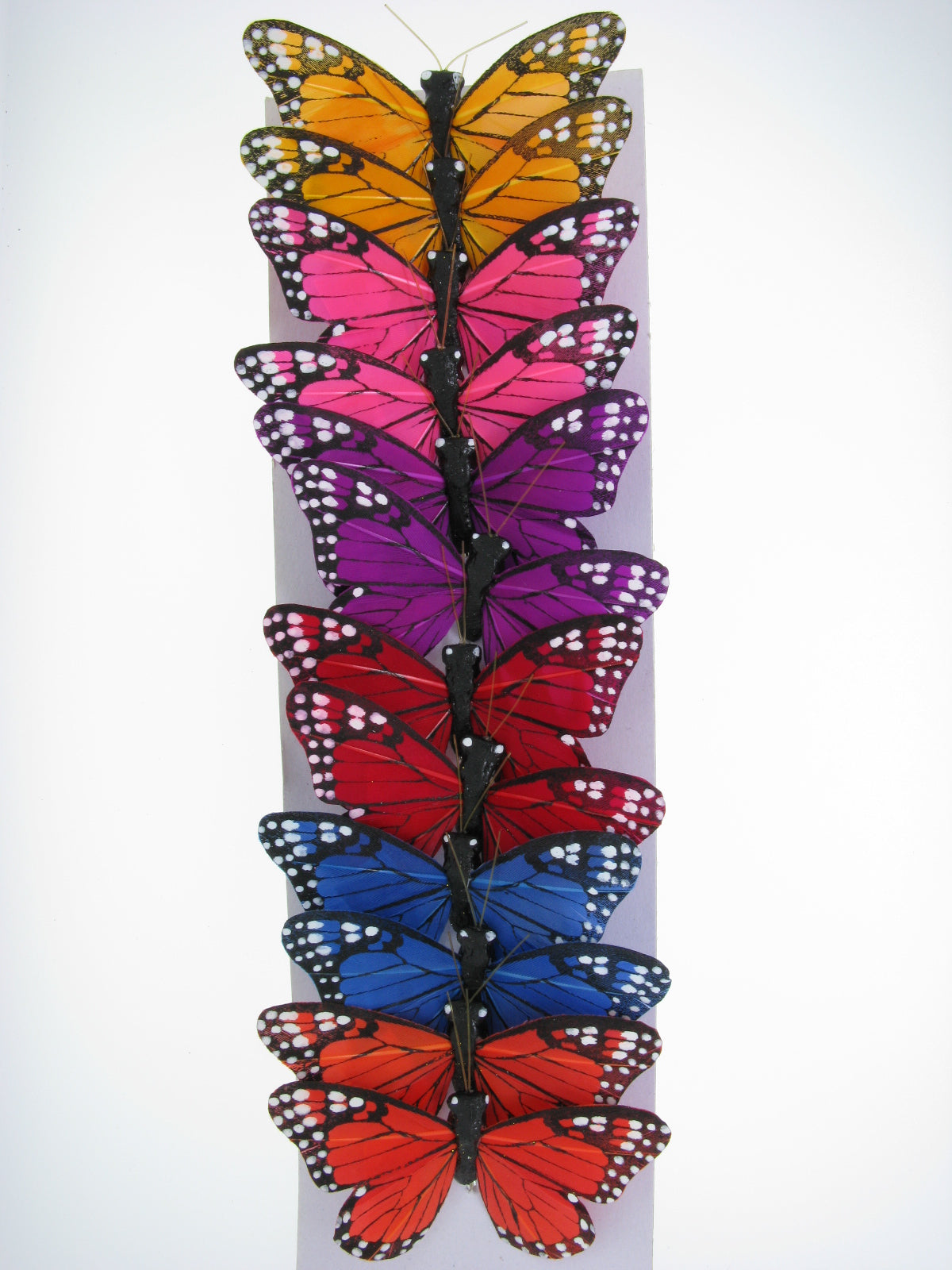 "PRBF3784 ASSORTED 3"" FEATHER BUTTERFLIES 1 DOZEN"