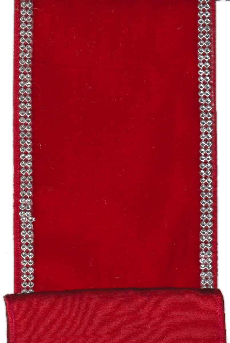 "Velvet - Red with Silver Side Trim (4"") - 5yds"