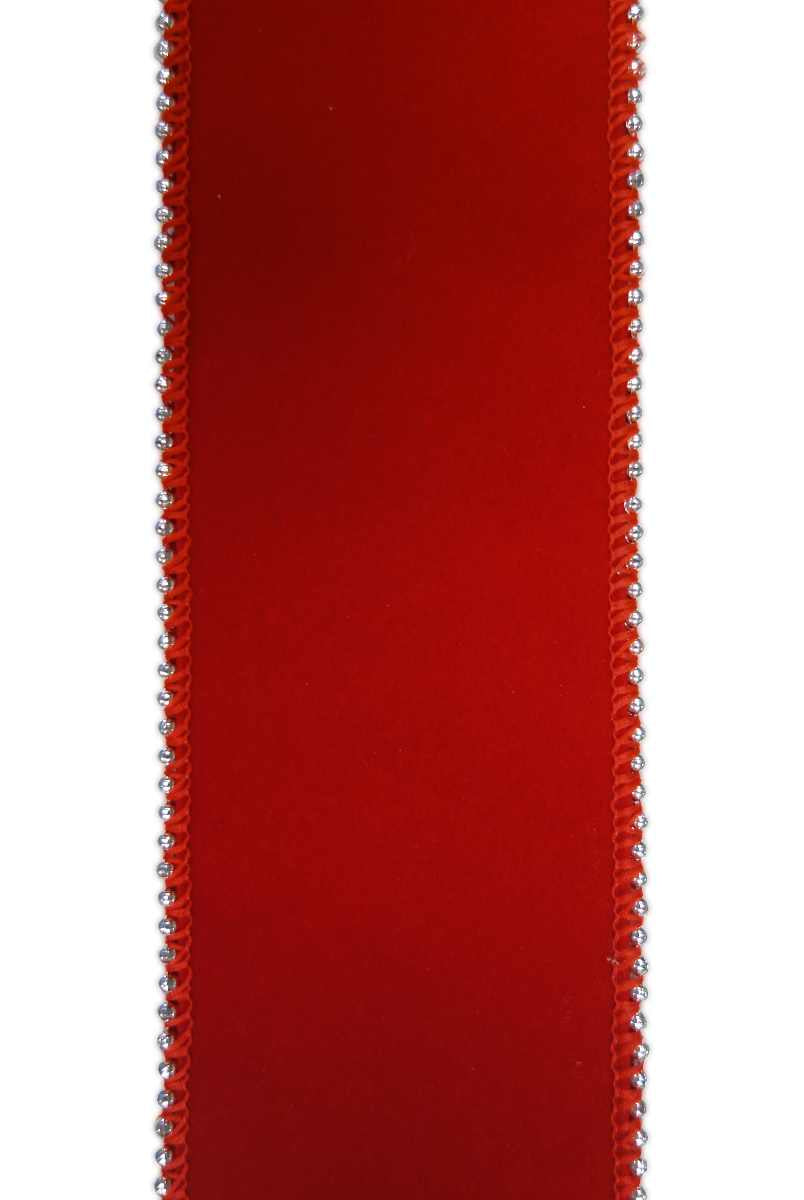 "Velvet - Double Sided/Silver Beaded Edge Red (2.5"") - 10 yds"