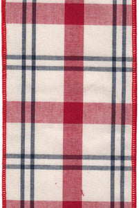 "DS09-2265 Cotton - Plaid Black/Ivor/Red (4"") - 10 yds"