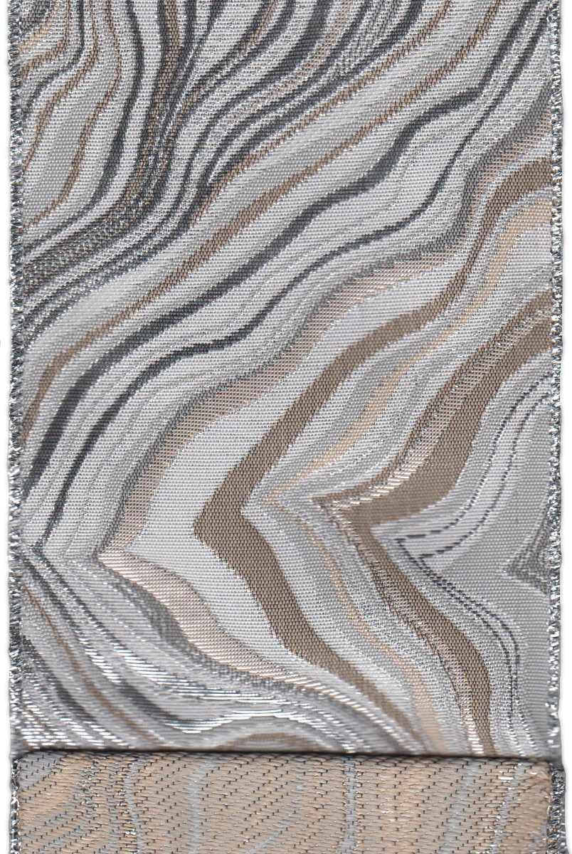 "DS09-2348 4"" JACQUARD WAVES SAND/GREY/SILVER 10YDS"