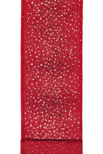 "DS092376 Linen - Glitter Snowfall Red (2.5"") - 10 yds"