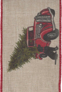 "DS09-2422 4"" LINEN RED TRUCK/BLACK DOG 10YDS"
