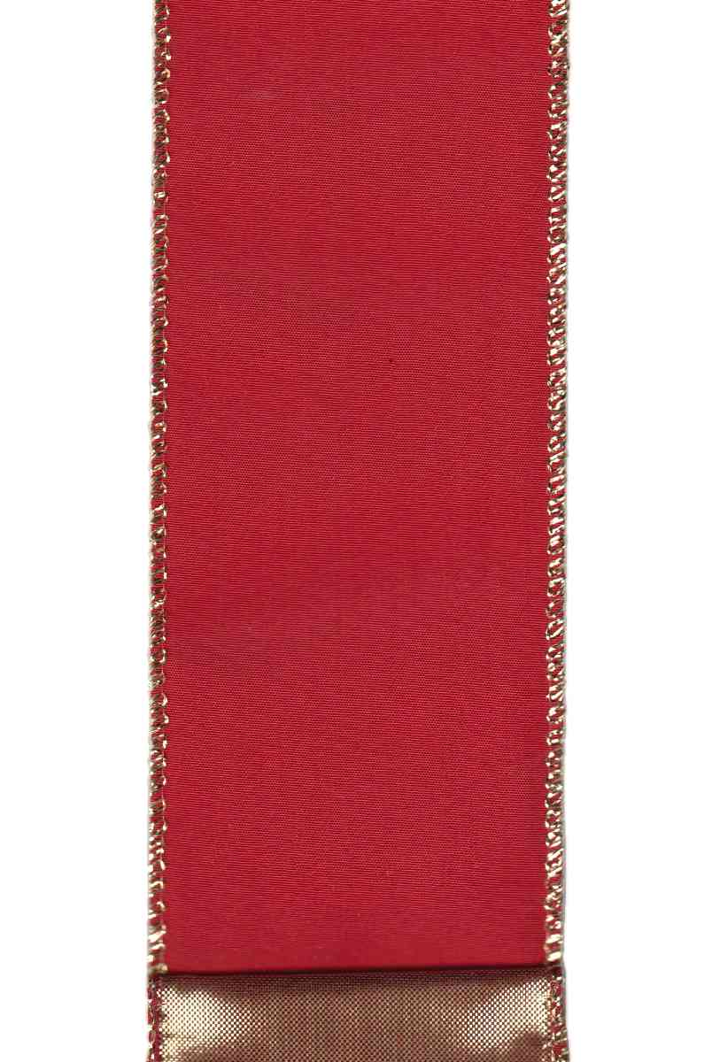 "Taffeta - Gold Back Red (2.5"") - 10 yds"