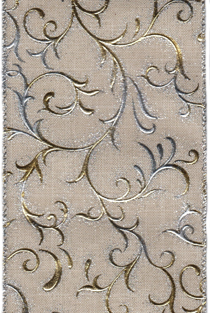 "DS09-3002 4"" LINEN GOLD/SILVER METALLIC SWIRL 10YDS"