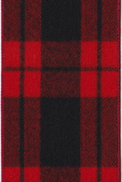 "DS15-6856 4"" FLANNEL RED PLAID BLACK 10YDS"