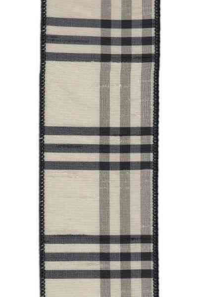 "DS88-1509 2.5"" DUPION PLAID GRAY/BLACK/PEARL 10YDS"